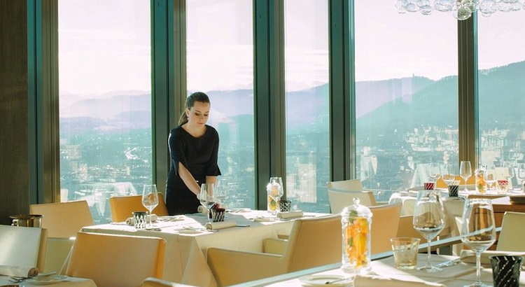 Setting the table at Cloud, one of the few fine-dining options in Zurich West.