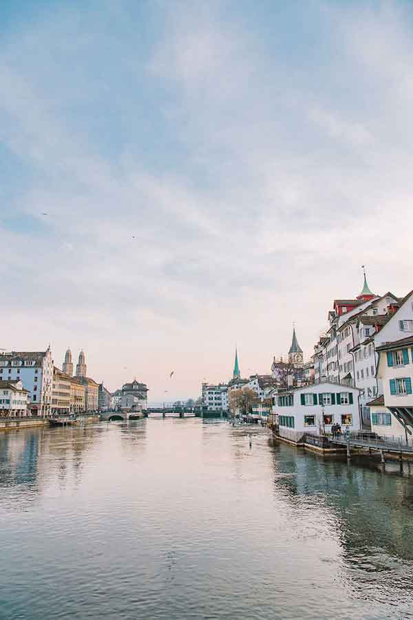 Evening on the Limmat River as it flows through Zurich's Old Town. All photos by Clara Tuma.
