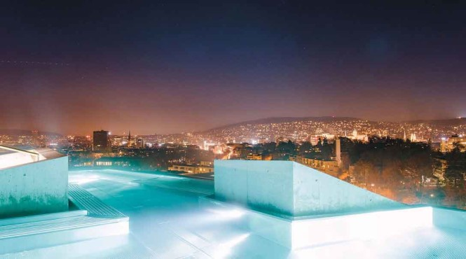 The rooftop pool at Thermalbad & Spa.