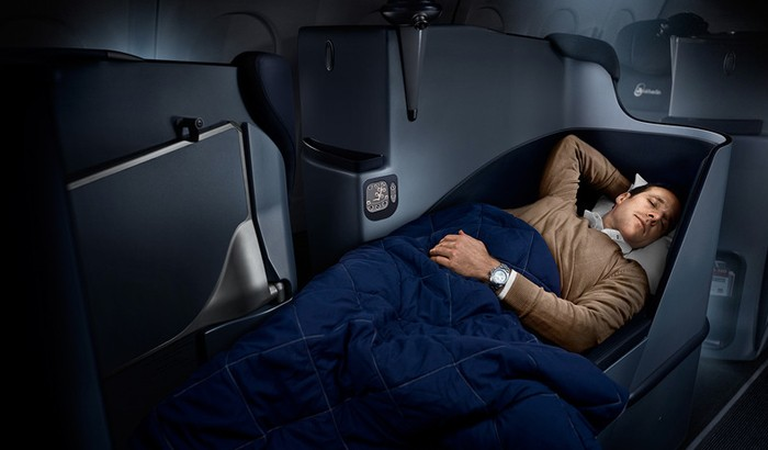 Experience the airline's fully flat seats.