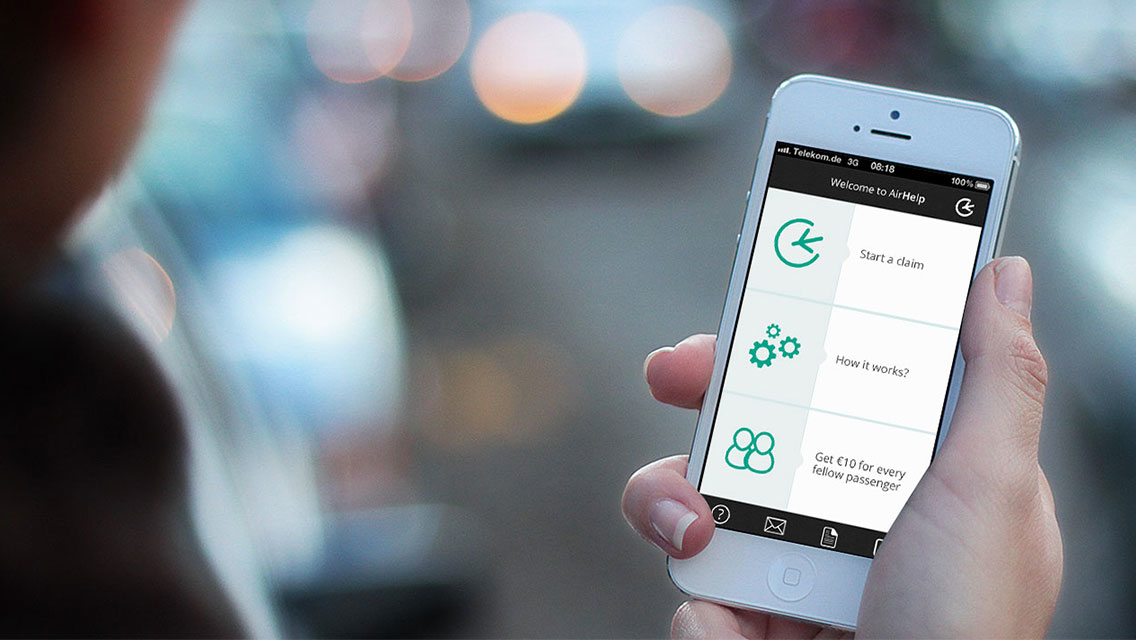 The AirHelp mobile application.
