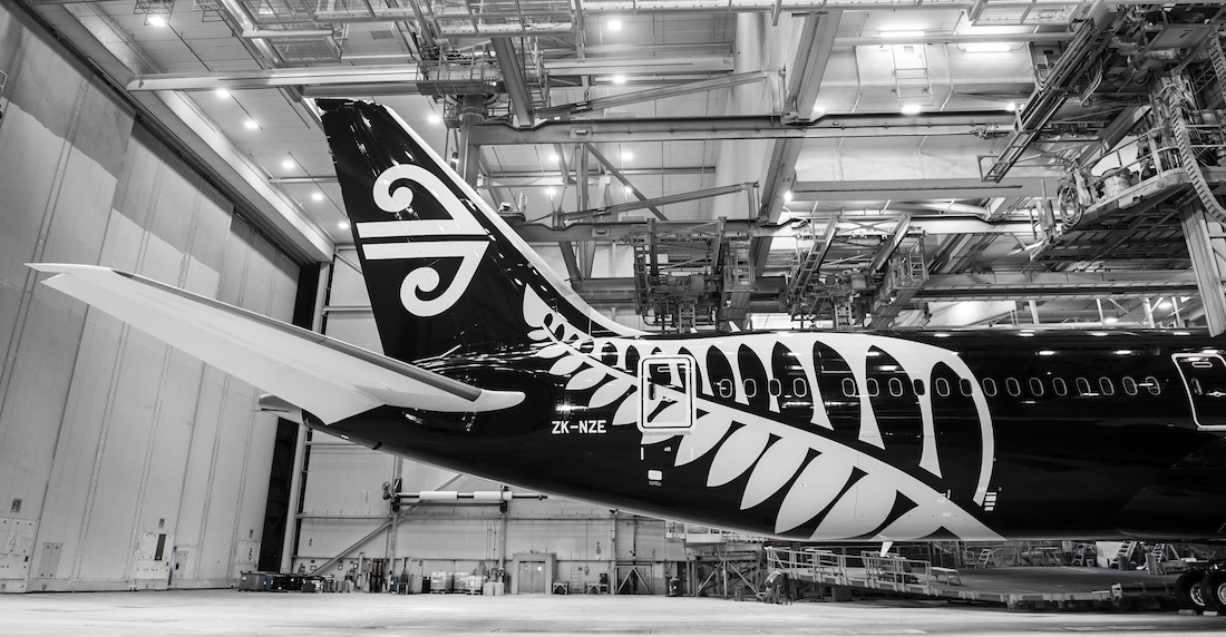 The Dreamliner in the paint hanger ahead of delivery.