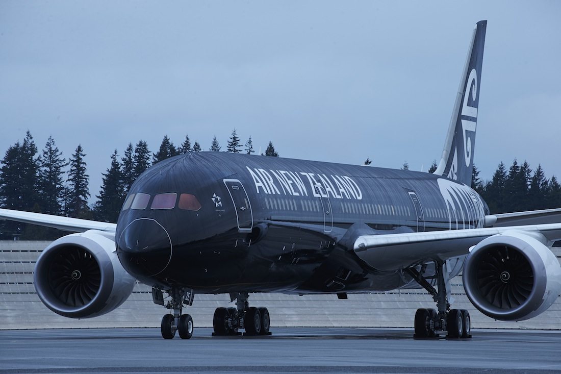 The all-black exterior of the new Air New Zealand Boeing 787-9 Dreamliner.