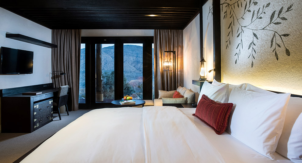 The Horizon Suite bedroom in the new Alila Jabal Akhdar.