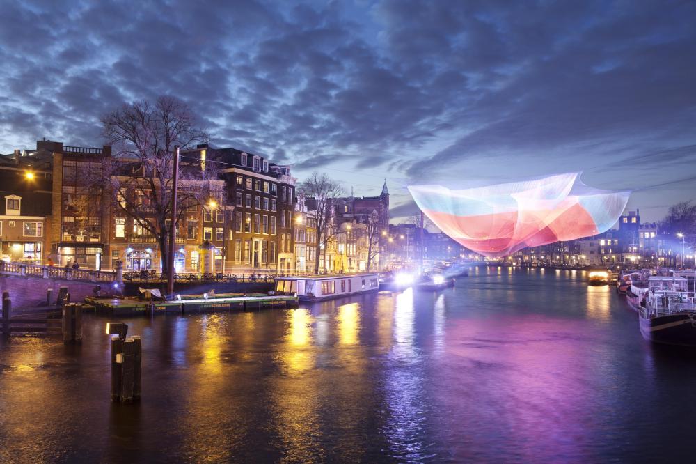 An installation at the Amsterdam Light Festival by Janet Echelman. Photo by Janus van den Eijnden