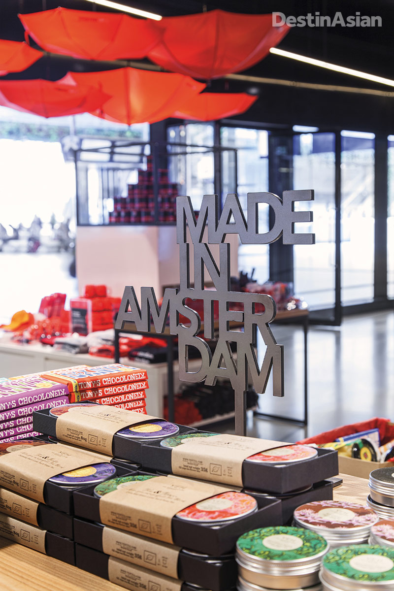 Homegrown brands like Tony's Chocolonely are showcased at I Amsterdam Store.