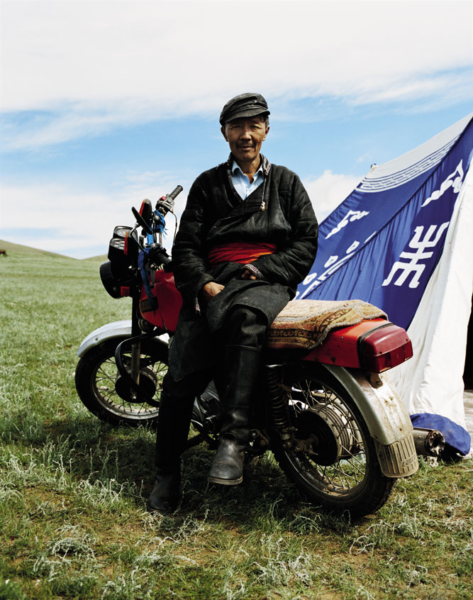 A Naadam festivalgoer in the grasslands outside the Mongolian capital, Ulaanbaatar.