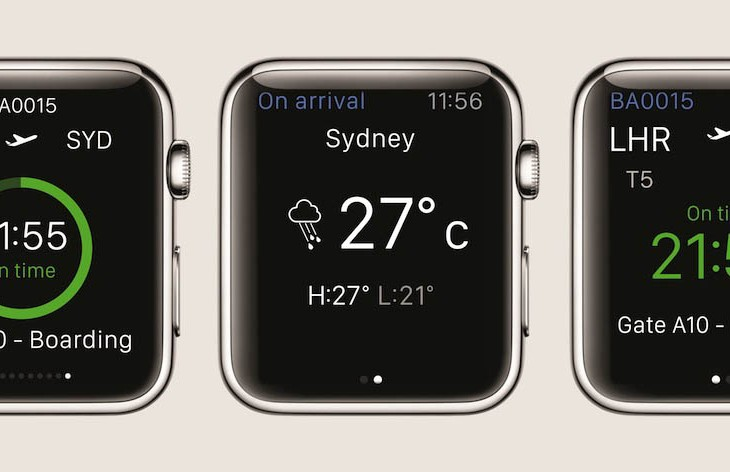 British Airlines' Apple Watch app will display details of the users' next flight, including the flight number, route, departure time, flight status, a countdown to departure, and the weather at the destination.