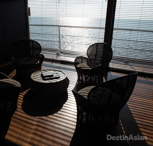 The Aqua's sleek lounge is outfitted with bespoke furnishings.