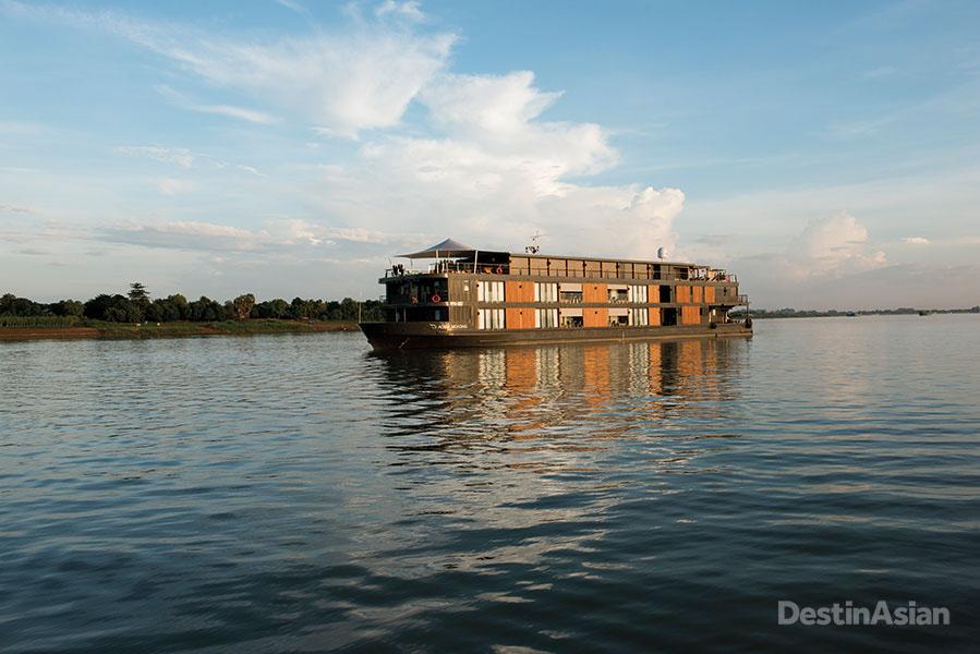 The Aqua Mekong on its namesake river just outside Phnom Penh.