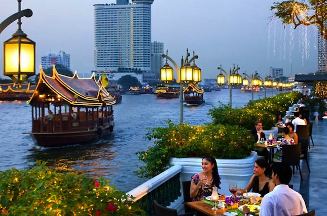 Mandarin Oriental's riverside restaurant on the banks of the Chao Phraya.