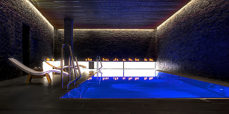 The pool features mood lighting.