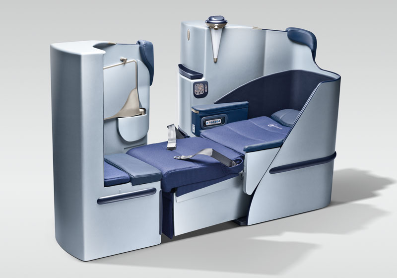 The fully flat business-class seat.