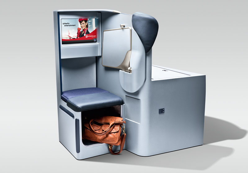 Extra storage and a 15-inch LED screen accessorize the new business-class seats.
