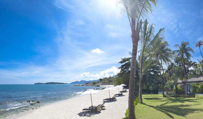The beach at Akaryn Samui resort in Thailand.