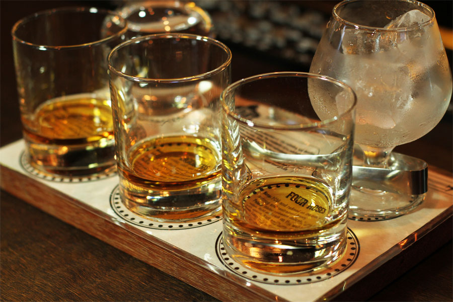 The bourbon tasting flight.