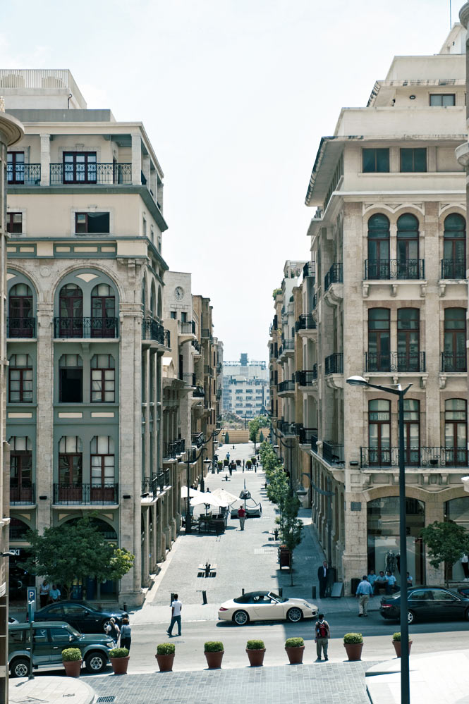Ottoman and French Mandate–era buildings line downtown Beirut's Allenby Street.