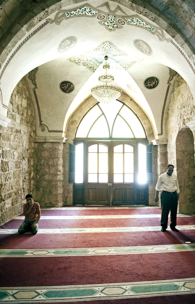Inside the centuries-old Omari Mosque.