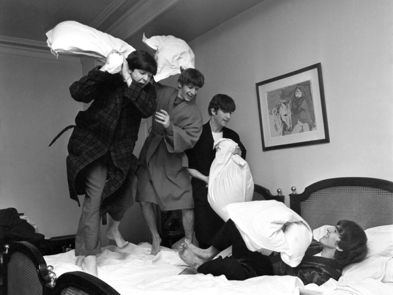 After receiving word that 'I Want to Hold Your Hand' had reached the top of the U.S. music charts, John Lennon surprised Paul McCartney by whacking him with a pillow, and a 15-minute pillow fight ensued.