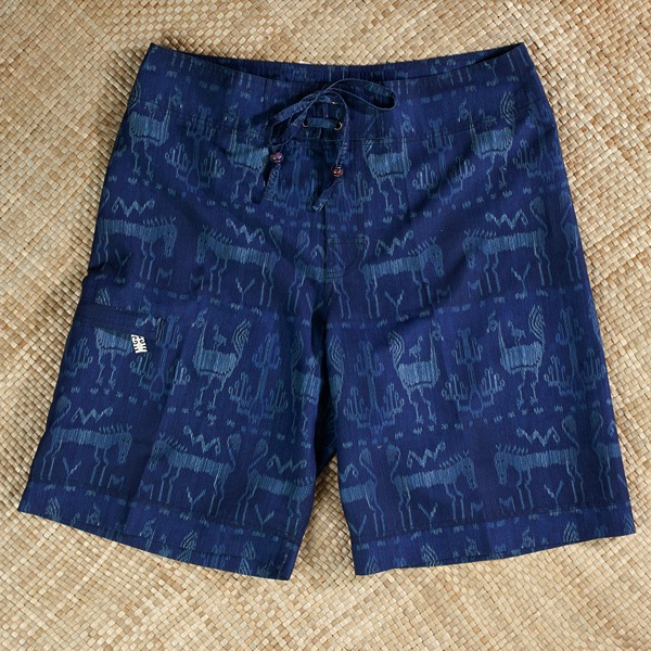 Kadu shorts were inspired by Indonesia's ikat textiles.