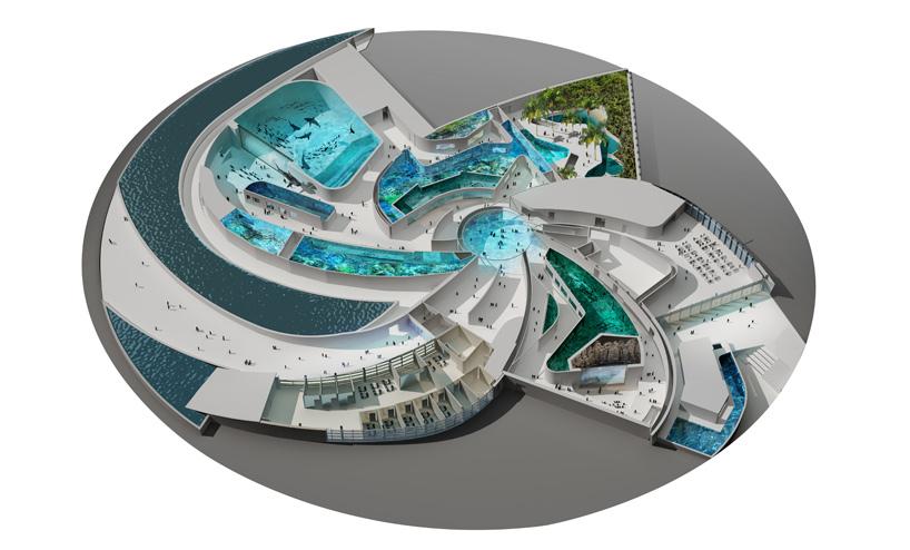 Floor plan of The Blue planet aquarium.