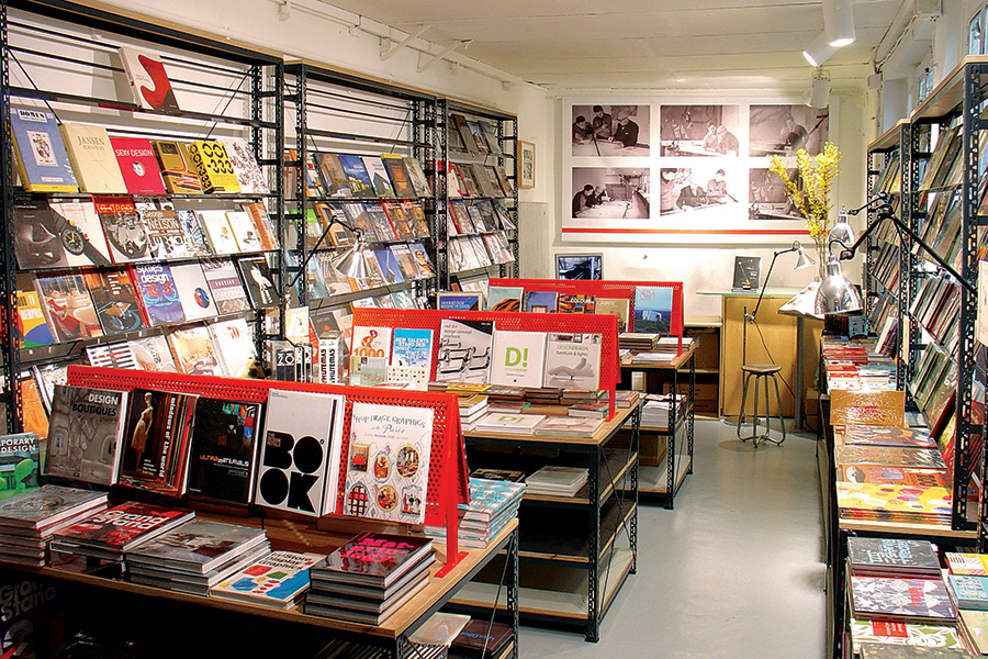 Inside design bookstore Artazart.
