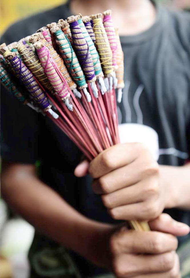 Tiny bang fai noi bottle rockets add fireworks to the festivities.
