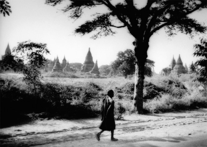 A Buddhist monk among the ancient temples and pagodas of Bagan, the jewel of Burmese culture.