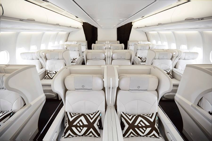 The revamped business cabin of Fiji Airways.