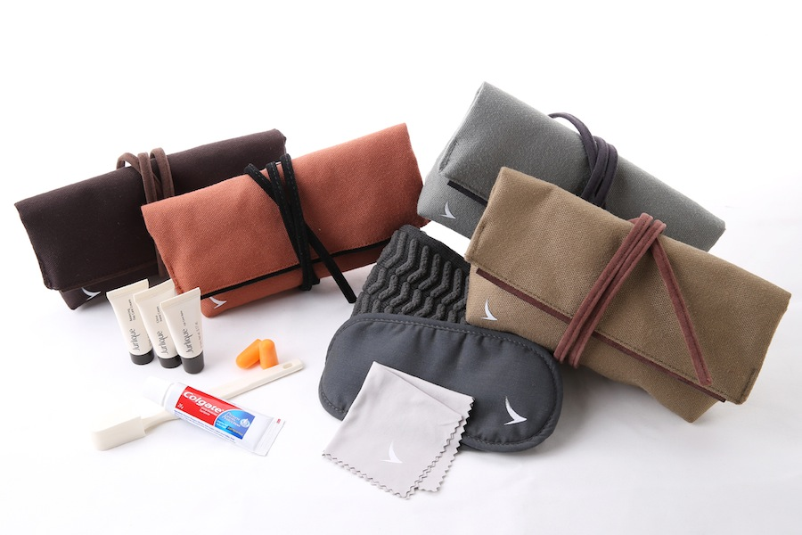 Business class amenity kits come in 12 colors, which will change on a rotational basis.