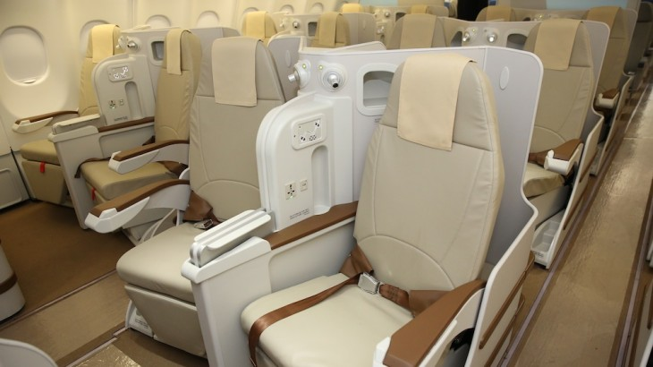 Business class is in a 2-2-2 seating configuration.