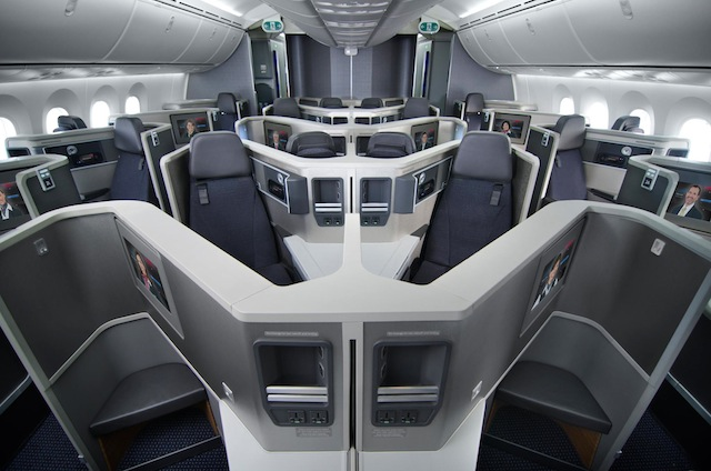 Business-class seats, designed by Acumen Design Associates, maximize comfort with its z-shaped orientation.