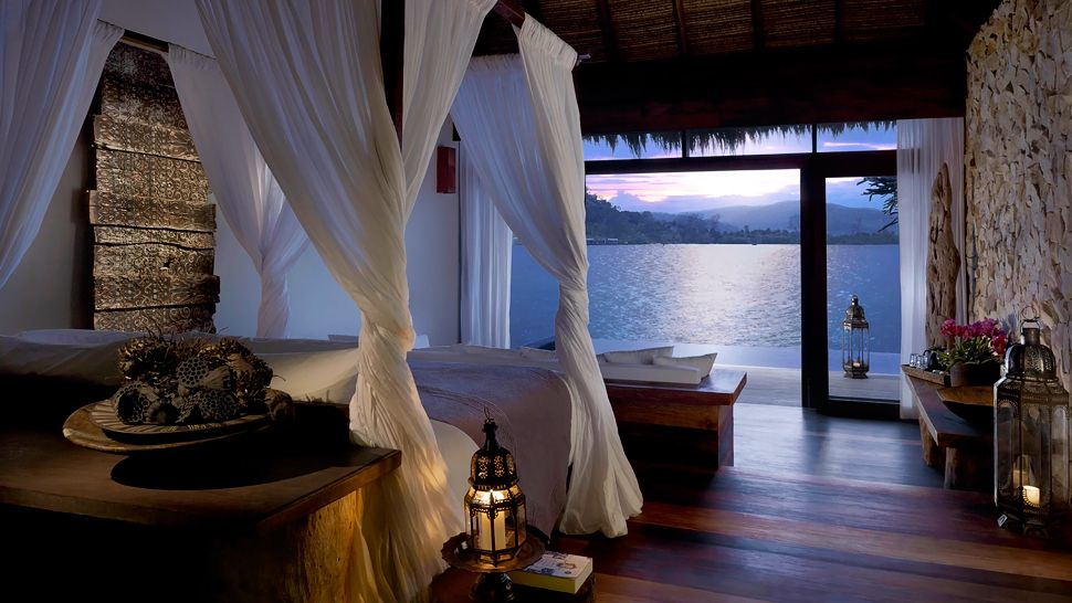 A bedroom at Cambodia luxury resort Song Saa Private Island