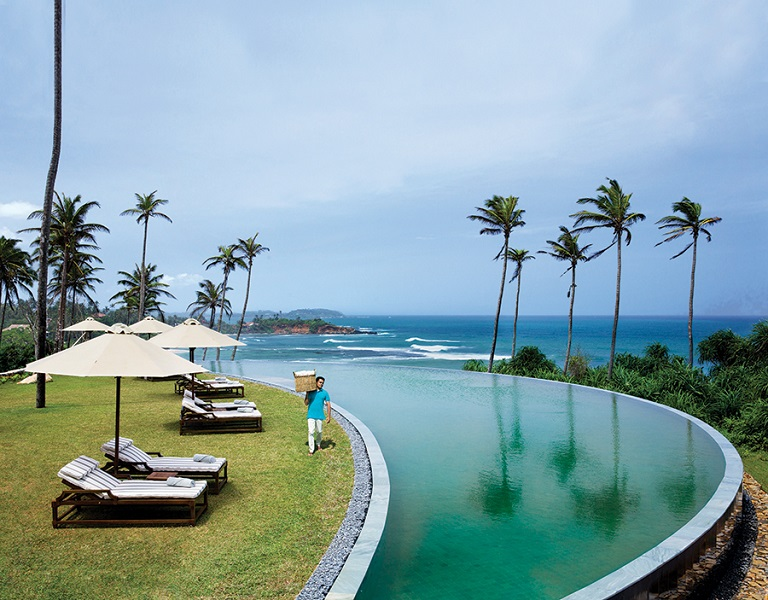 Cape Weligama's crescent-shaped pool affords a panoramic perch above the Indian Ocean.