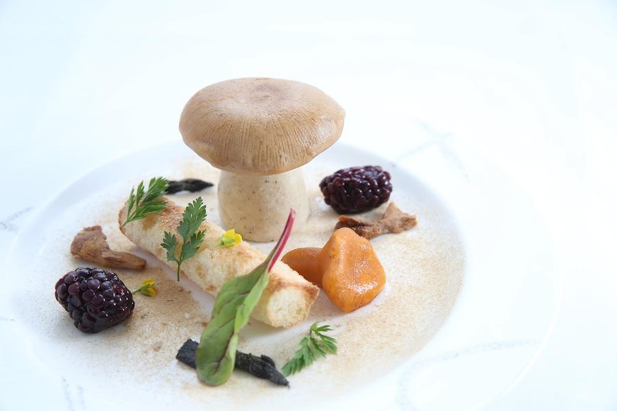 Foie gras, mushrooms, and pickled blackberries.