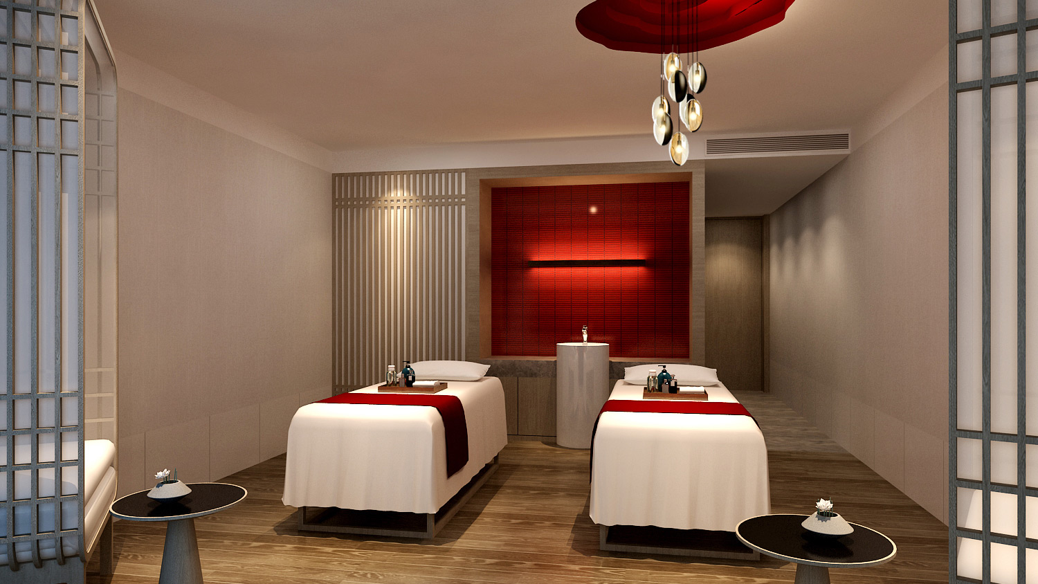 Inside one of their wellness spa's spacious treatment rooms.
