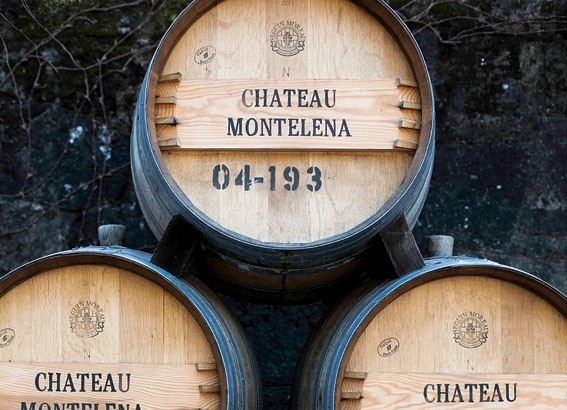Wine barrels outside the castle-like main building at Chateau Montelena.