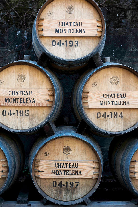 Wine barrels outside the castle-like main building at Chateau Montelena.