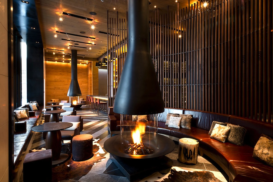 Fireplaces contribute to the hotel's cozy atmosphere.