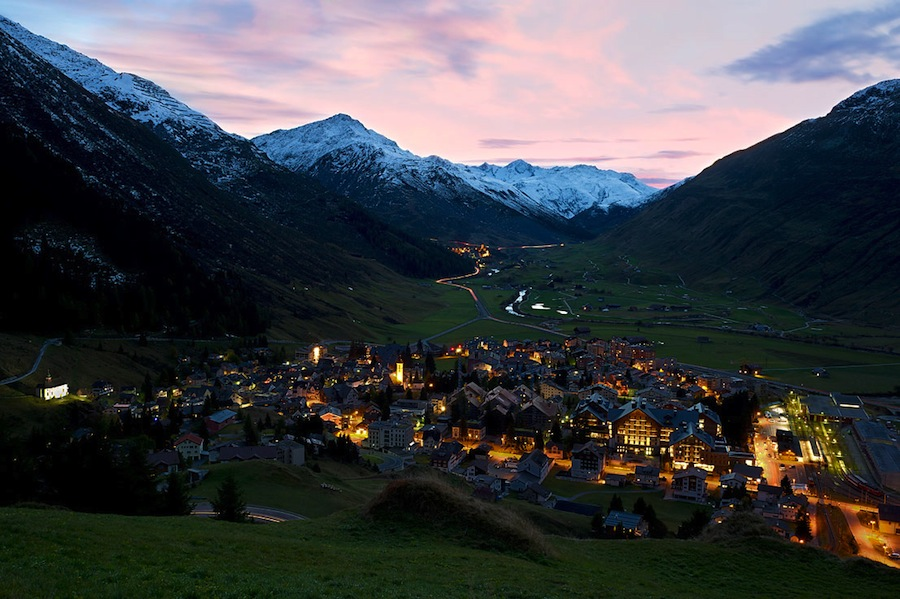 The picturesque Swiss Alps surround the community.