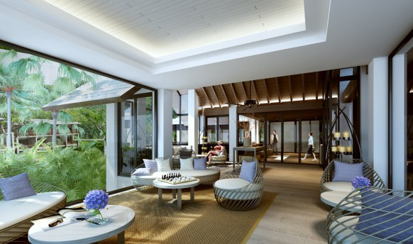 The resort employs a understated interior design with ample use of warm tones.