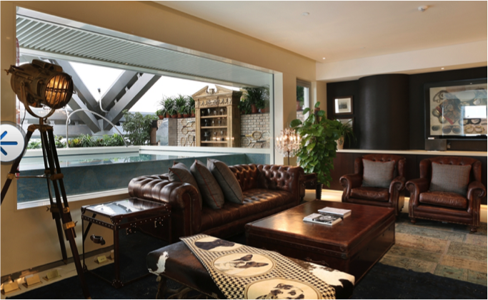 The Great Love for Classic Sport suite displays its sportsmanship with memorabilia and trophies.