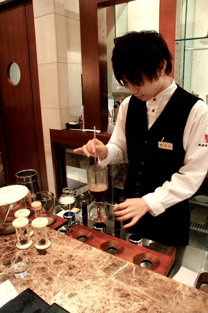A barista at Sakan Shu.