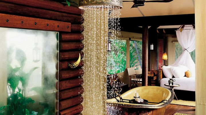 Outdoor rain shower.