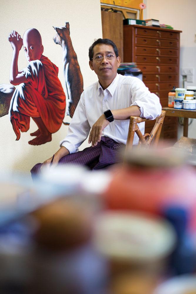 'Monk expert' Min Wae Aung in his studio at the New Treasure Art Gallery.