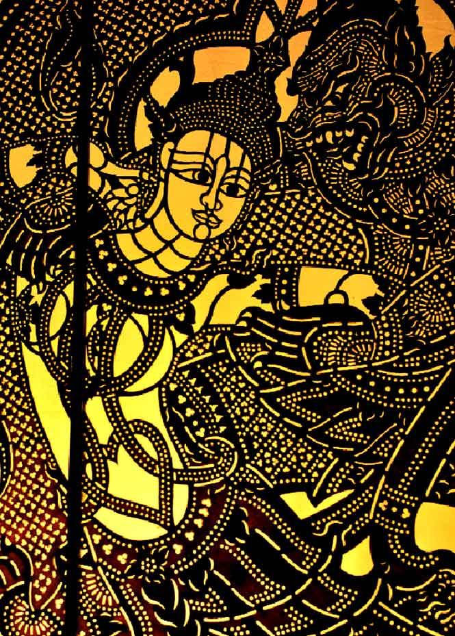A vignette of a dancing apsara.