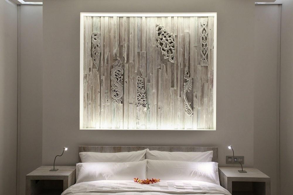 Cool grays color this delMango bedroom.