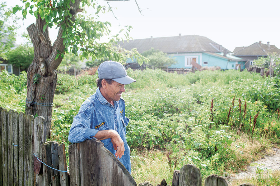 A Sfantu Gheorge local in his vegetable garden.
