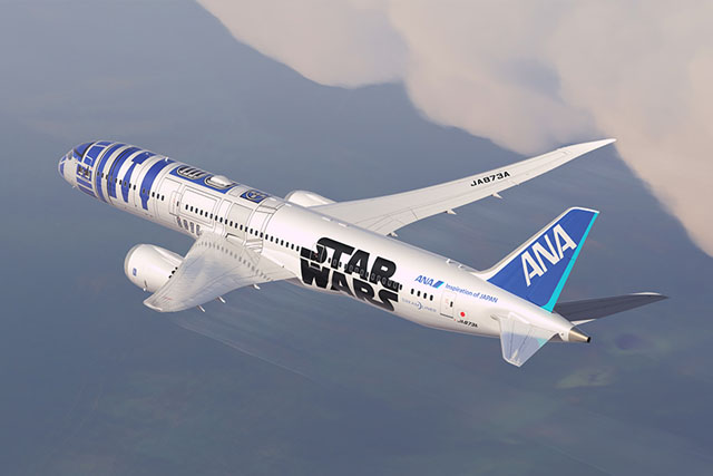 R2-D2 seen on the livery of one of ANA's three Star Wars–themed aircraft.