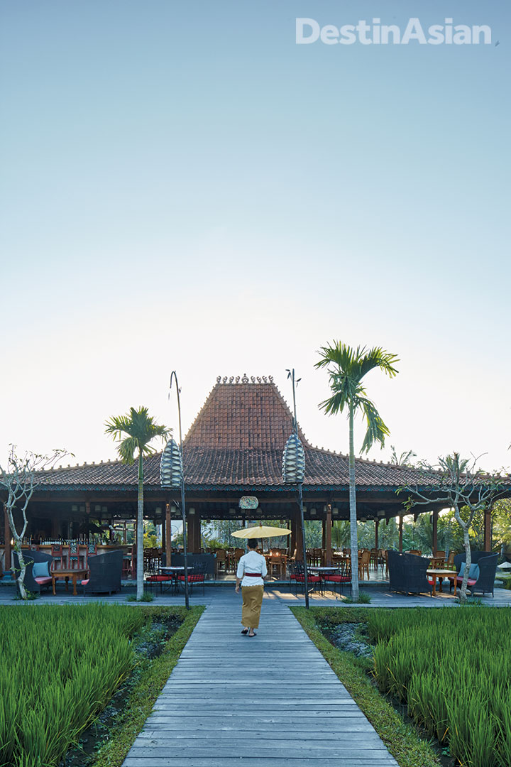 Manisan Restaurant's joglo-roofed dining pavilion in Ubud.